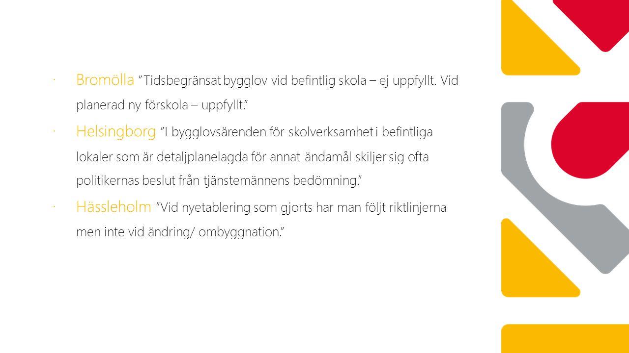"""∙ Bromölla """"Tidsbegränsat bygglov vid befintlig skola – ej uppfyllt. Vid planerad ny förskola – uppfyllt."""" ∙ Helsingborg """"I bygglovsärenden för skolve"""