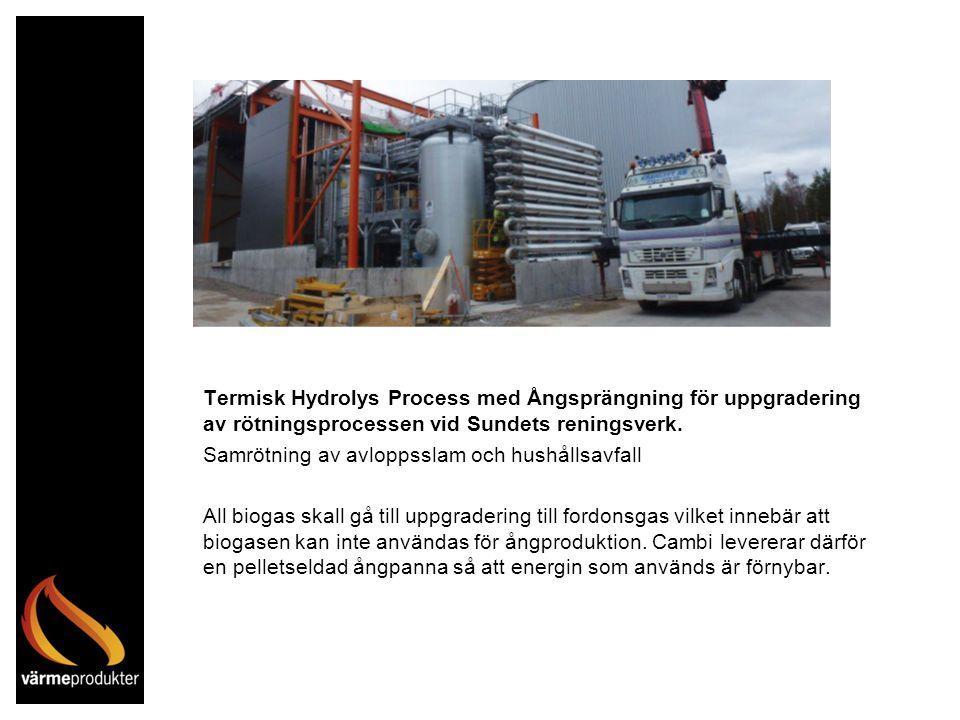 Termisk Hydrolys Process med Ångsprängning för uppgradering av rötningsprocessen vid Sundets reningsverk.