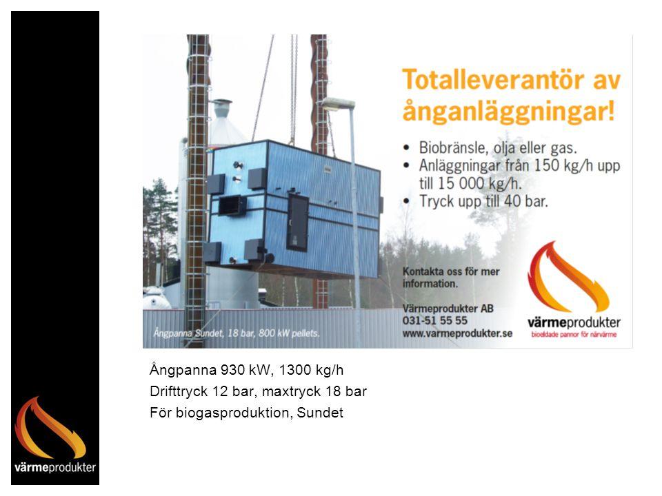 Ångpanna 930 kW, 1300 kg/h Drifttryck 12 bar, maxtryck 18 bar För biogasproduktion, Sundet