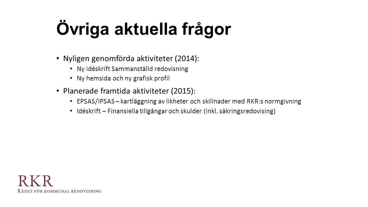 Övriga aktuella frågor Nyligen genomförda aktiviteter (2014): Ny idéskrift Sammanställd redovisning Ny hemsida och ny grafisk profil Planerade framtid