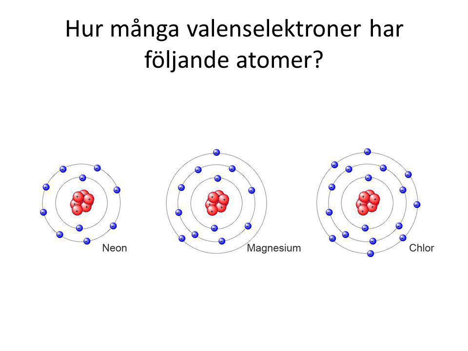 Hur många valenselektroner har följande atomer?