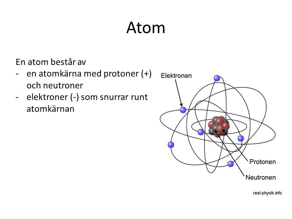 Atom En atom består av -en atomkärna med protoner (+) och neutroner -elektroner (-) som snurrar runt atomkärnan