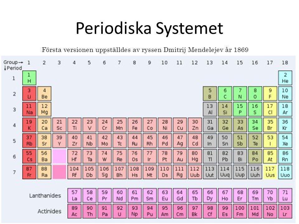 Första versionen uppställdes av ryssen Dmitrij Mendelejev år 1869 Periodiska Systemet
