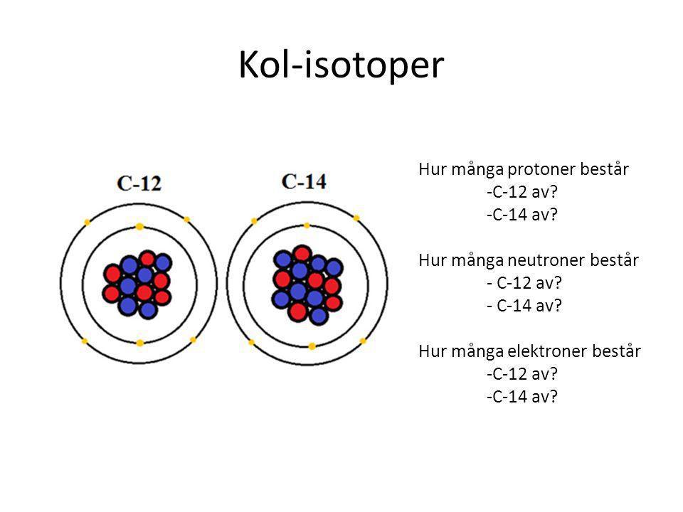 Kol-isotoper Hur många protoner består -C-12 av.-C-14 av.
