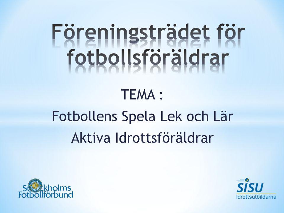 TEMA : Fotbollens Spela Lek och Lär Aktiva Idrottsföräldrar