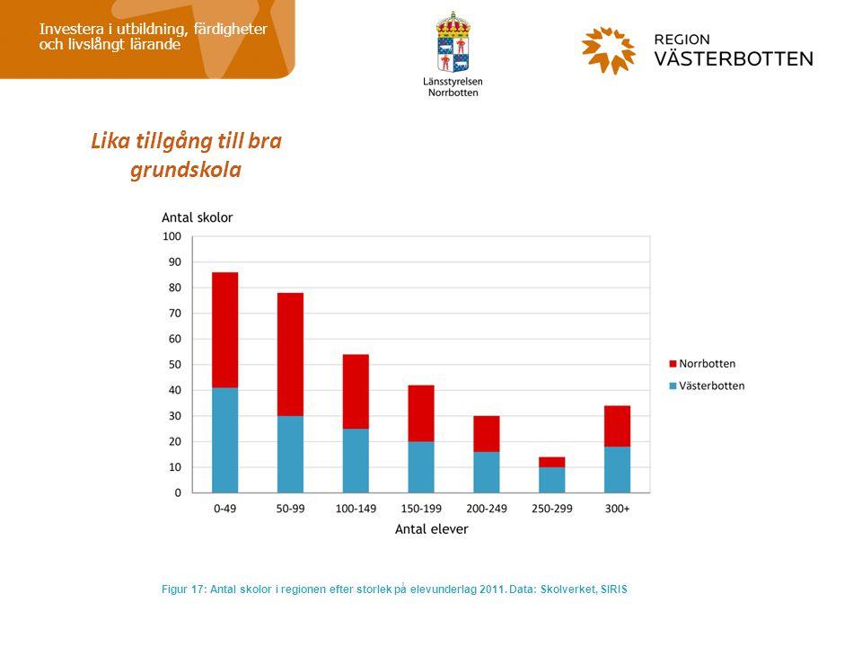 Lika tillgång till bra grundskola Investera i utbildning, färdigheter och livslångt lärande Figur 17: Antal skolor i regionen efter storlek på elevund
