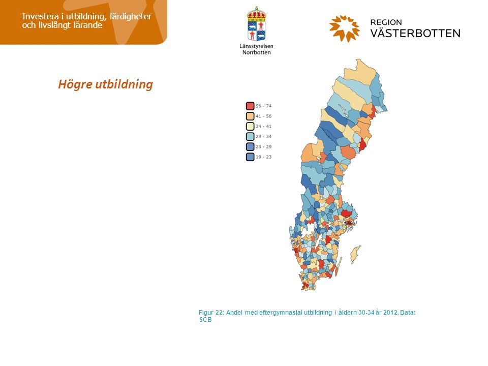 Högre utbildning Investera i utbildning, färdigheter och livslångt lärande Figur 22: Andel med eftergymnasial utbildning i åldern 30-34 år 2012. Data: