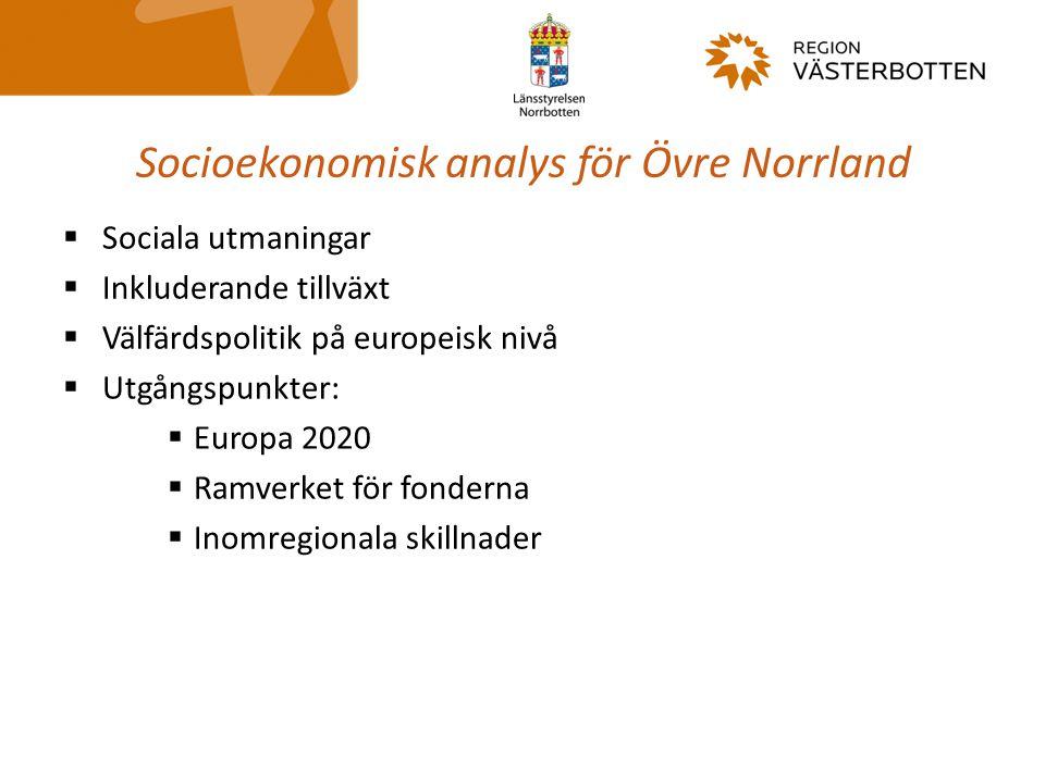 Socioekonomisk analys för Övre Norrland  Sociala utmaningar  Inkluderande tillväxt  Välfärdspolitik på europeisk nivå  Utgångspunkter:  Europa 20