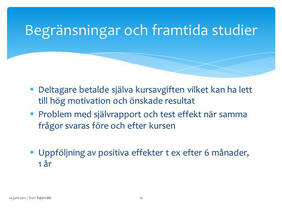  Deltagare betalde själva kursavgiften vilket kan ha lett till hög motivation och önskade resultat  Problem med självrapport och test effekt när samma frågor svaras före och efter kursen  Uppföljning av positiva effekter t ex efter 6 månader, 1 år 14 juni 2011 / Suvi Rajamäki Begränsningar och framtida studier 12
