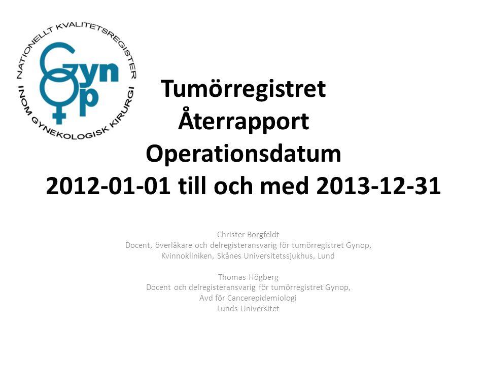 Tumörregistret Återrapport Operationsdatum 2012-01-01 till och med 2013-12-31 Christer Borgfeldt Docent, överläkare och delregisteransvarig för tumörr