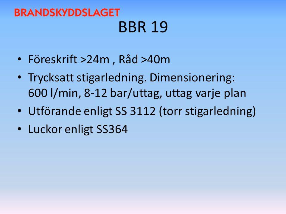 BBR 19 Föreskrift >24m, Råd >40m Trycksatt stigarledning. Dimensionering: 600 l/min, 8-12 bar/uttag, uttag varje plan Utförande enligt SS 3112 (torr s