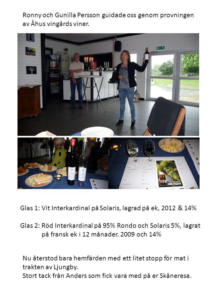 Ronny och Gunilla Persson guidade oss genom provningen av Åhus vingårds viner.
