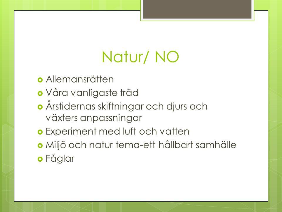 Natur/ NO  Allemansrätten  Våra vanligaste träd  Årstidernas skiftningar och djurs och växters anpassningar  Experiment med luft och vatten  Milj