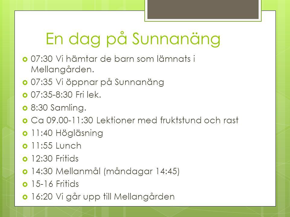 En dag på Sunnanäng  07:30 Vi hämtar de barn som lämnats i Mellangården.  07:35 Vi öppnar på Sunnanäng  07:35-8:30 Fri lek.  8:30 Samling.  Ca 09