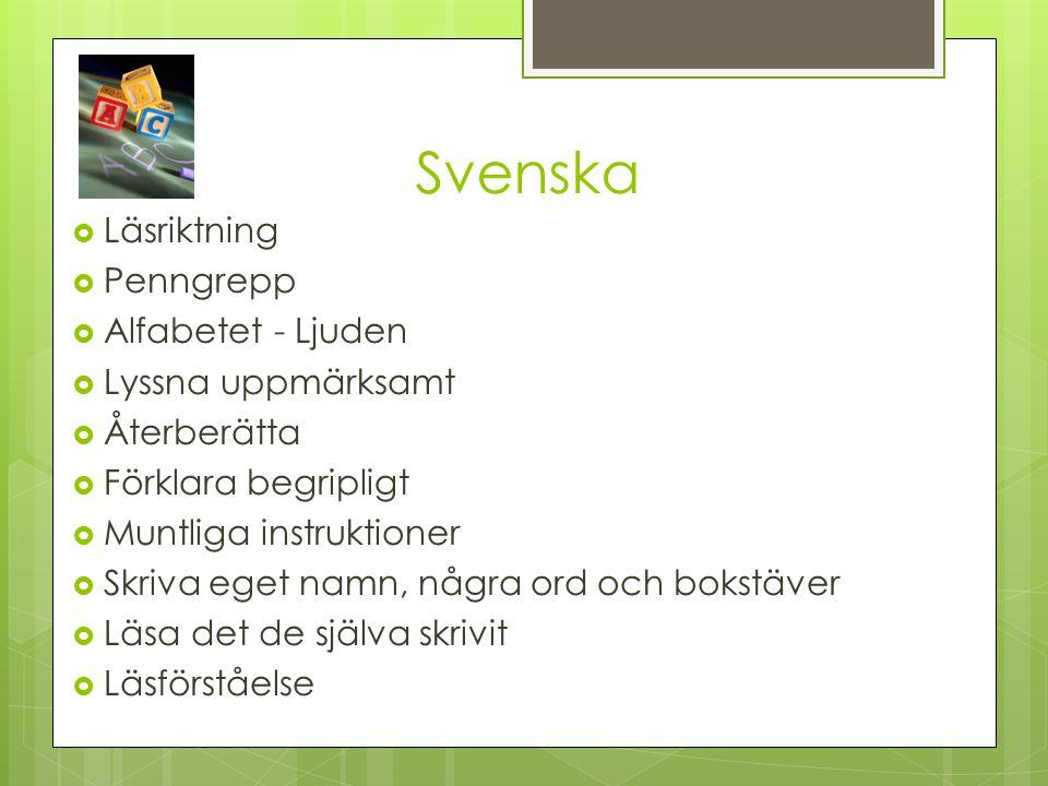Svenska  Läsriktning  Penngrepp  Alfabetet - Ljuden  Lyssna uppmärksamt  Återberätta  Förklara begripligt  Muntliga instruktioner  Skriva eget