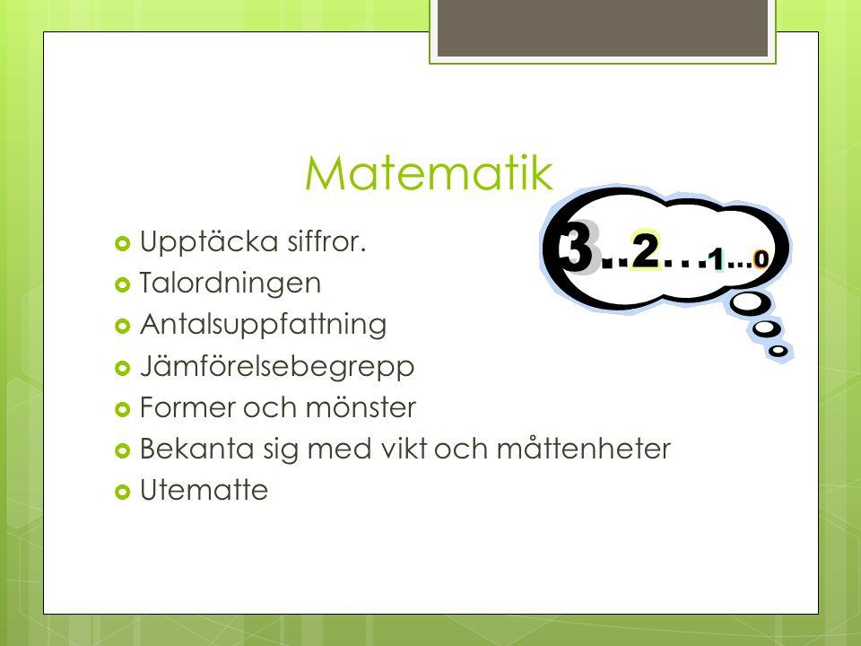 Matematik  Upptäcka siffror.