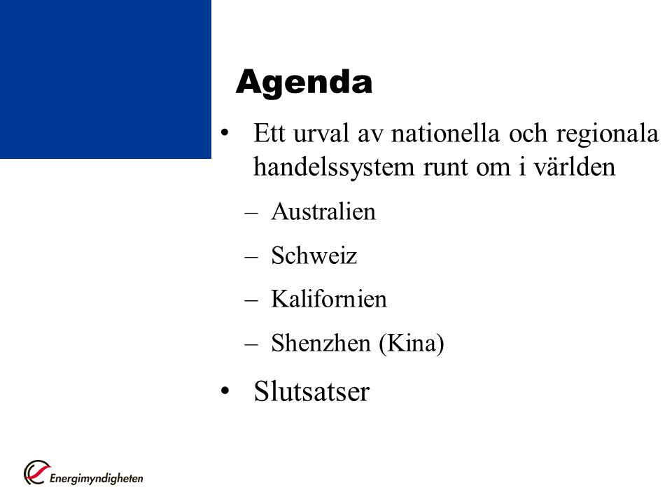 Agenda Ett urval av nationella och regionala handelssystem runt om i världen –Australien –Schweiz –Kalifornien –Shenzhen (Kina) Slutsatser