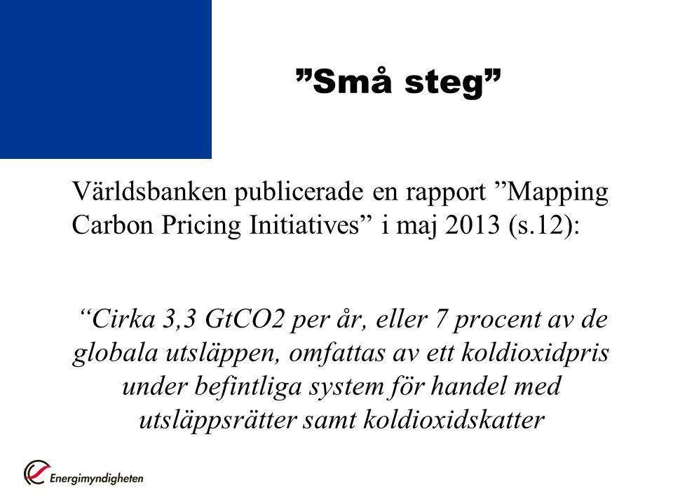 """""""Små steg"""" Världsbanken publicerade en rapport """"Mapping Carbon Pricing Initiatives"""" i maj 2013 (s.12): """"Cirka 3,3 GtCO2 per år, eller 7 procent av de"""