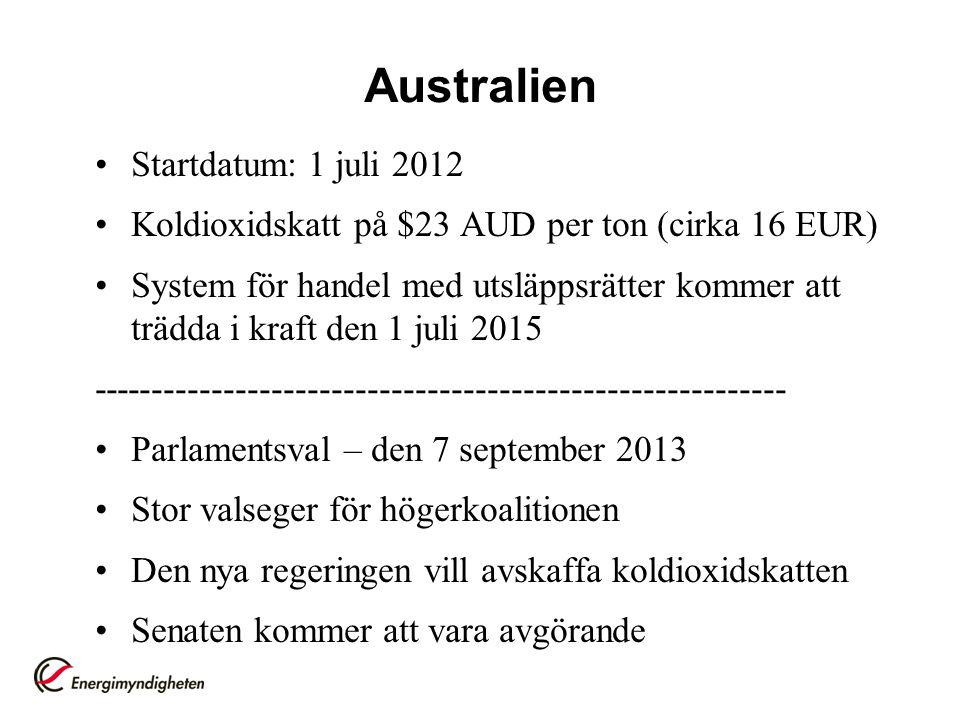 Australien Startdatum: 1 juli 2012 Koldioxidskatt på $23 AUD per ton (cirka 16 EUR) System för handel med utsläppsrätter kommer att trädda i kraft den