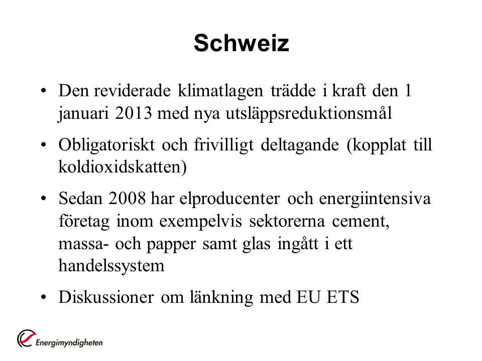 Schweiz Den reviderade klimatlagen trädde i kraft den 1 januari 2013 med nya utsläppsreduktionsmål Obligatoriskt och frivilligt deltagande (kopplat ti