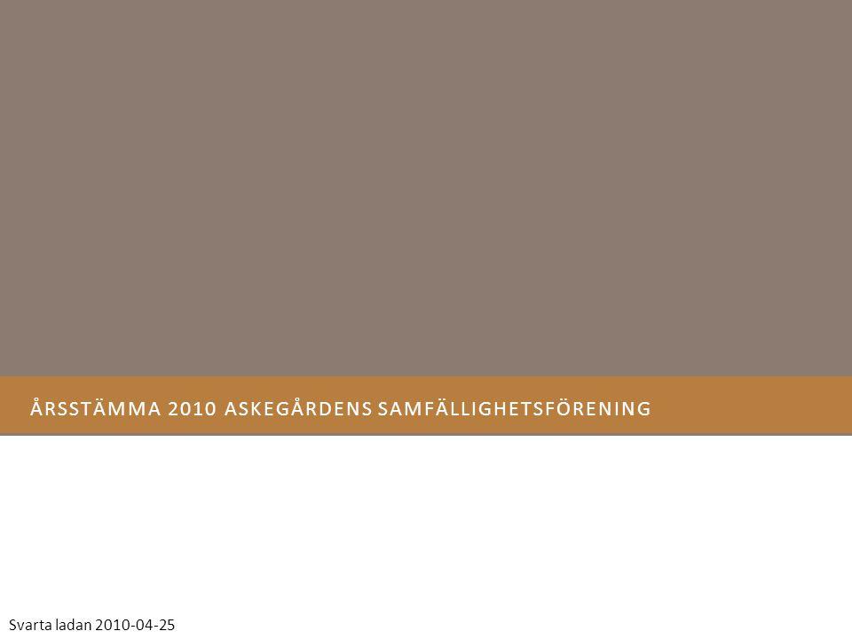 ÅRSSTÄMMA 2010 ASKEGÅRDENS SAMFÄLLIGHETSFÖRENING Svarta ladan 2010-04-25