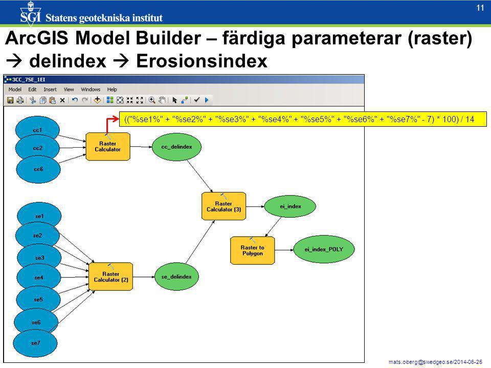11 mats.oberg@swedgeo.se/2014-06-25 ArcGIS Model Builder – färdiga parameterar (raster)  delindex  Erosionsindex ((