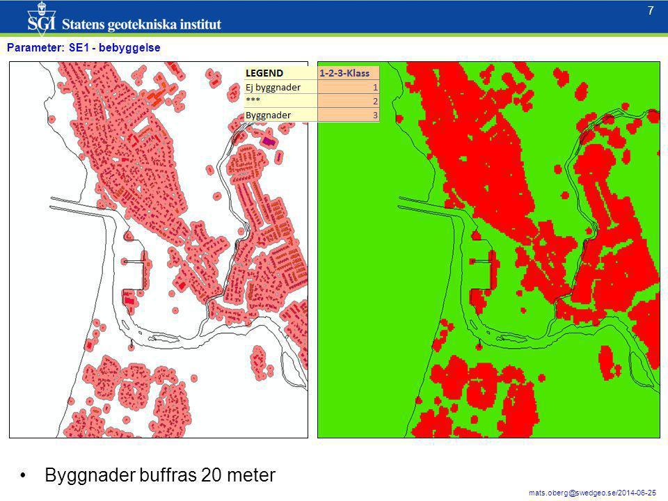 7 7 mats.oberg@swedgeo.se/2014-06-25 Parameter: SE1 - bebyggelse Byggnader buffras 20 meter
