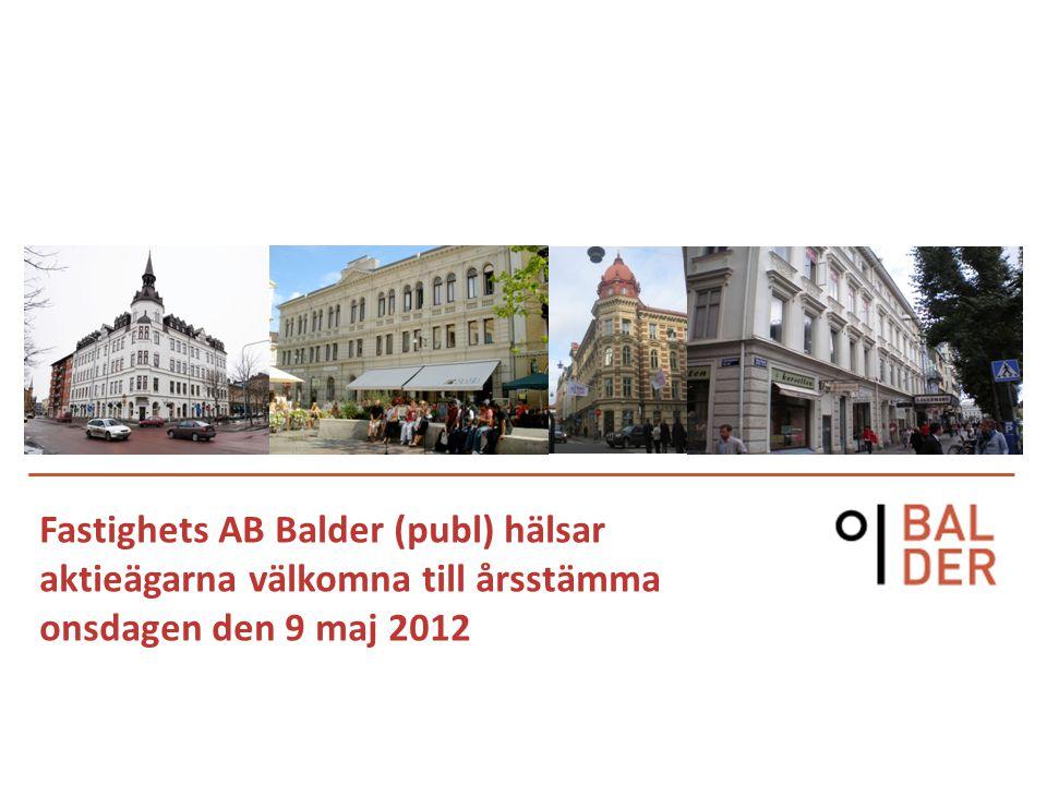 Fastighets AB Balder (publ) hälsar aktieägarna välkomna till årsstämma onsdagen den 9 maj 2012