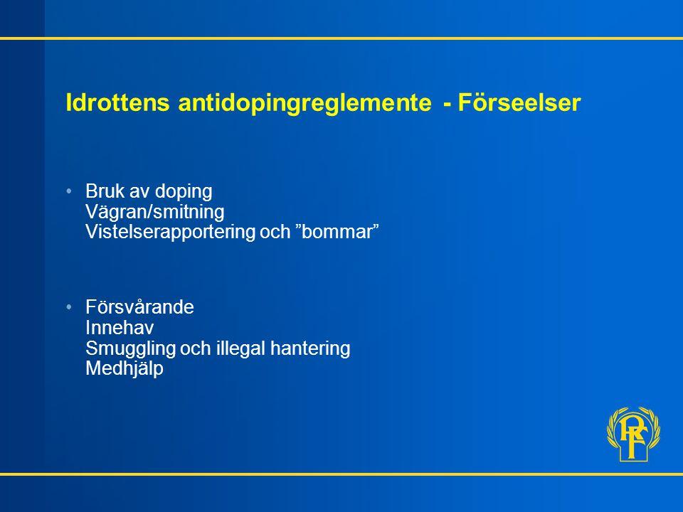 """Idrottens antidopingreglemente - Förseelser Bruk av doping Vägran/smitning Vistelserapportering och """"bommar"""" Försvårande Innehav Smuggling och illegal"""