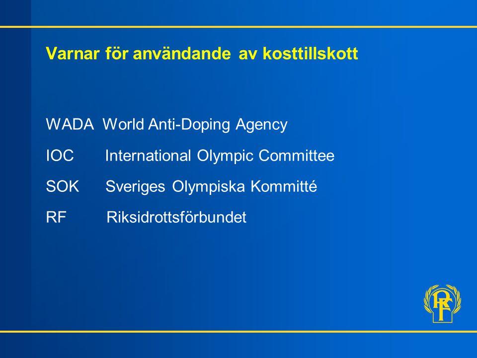 Varnar för användande av kosttillskott WADA World Anti-Doping Agency IOC International Olympic Committee SOK Sveriges Olympiska Kommitté RF Riksidrott