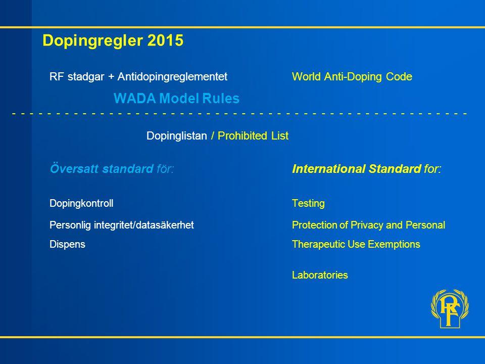Dopingregler 2015 RF stadgar + Antidopingreglementet World Anti-Doping Code WADA Model Rules - - - - - - - - - - - - - - - - - - - - - - - - - - - - -