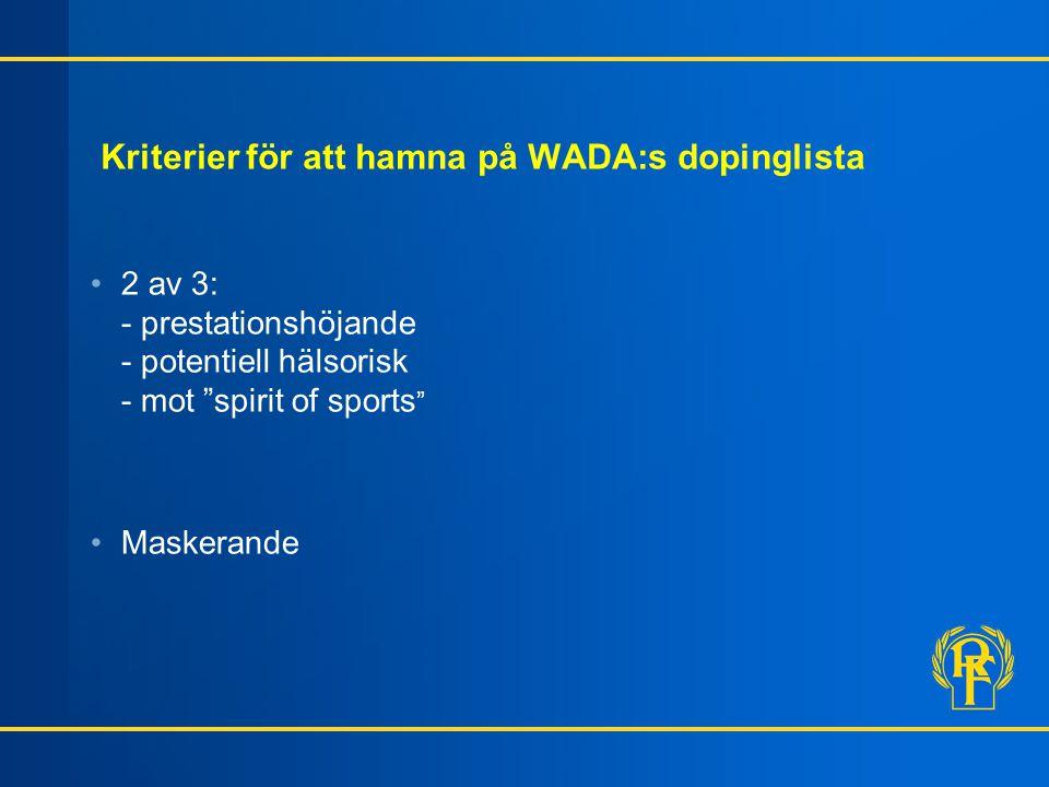 """Kriterier för att hamna på WADA:s dopinglista 2 av 3: - prestationshöjande - potentiell hälsorisk - mot """"spirit of sports """" Maskerande"""
