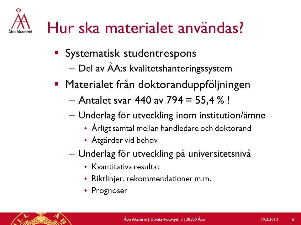 Hur ska materialet användas?  Systematisk studentrespons – Del av ÅA:s kvalitetshanteringssystem  Materialet från doktoranduppföljningen – Antalet s