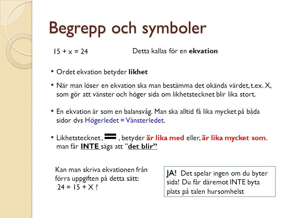 Begrepp och symboler 15 + x = 24 Detta kallas för en ekvation Ordet ekvation betyder likhet När man löser en ekvation ska man bestämma det okända värdet, t.ex.