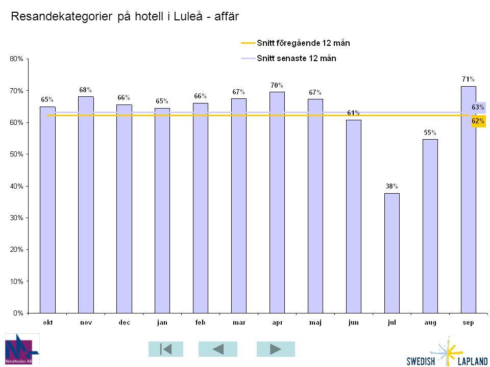 Resandekategorier på hotell i Luleå - affär