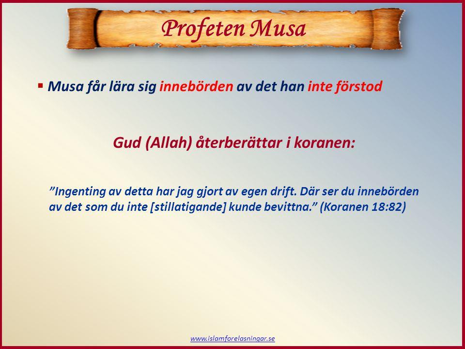 Musa får lära sig innebörden av det han inte förstod www.islamforelasningar.se Profeten Musa Gud (Allah) återberättar i koranen: Ingenting av detta har jag gjort av egen drift.