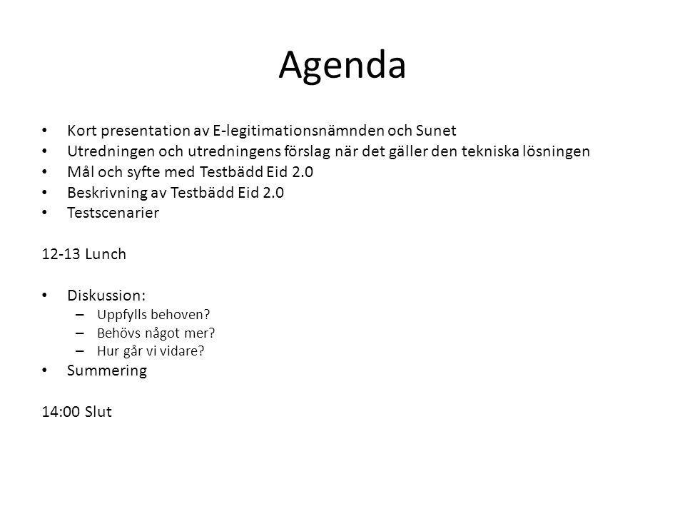 Agenda Kort presentation av E-legitimationsnämnden och Sunet Utredningen och utredningens förslag när det gäller den tekniska lösningen Mål och syfte med Testbädd Eid 2.0 Beskrivning av Testbädd Eid 2.0 Testscenarier 12-13 Lunch Diskussion: – Uppfylls behoven.