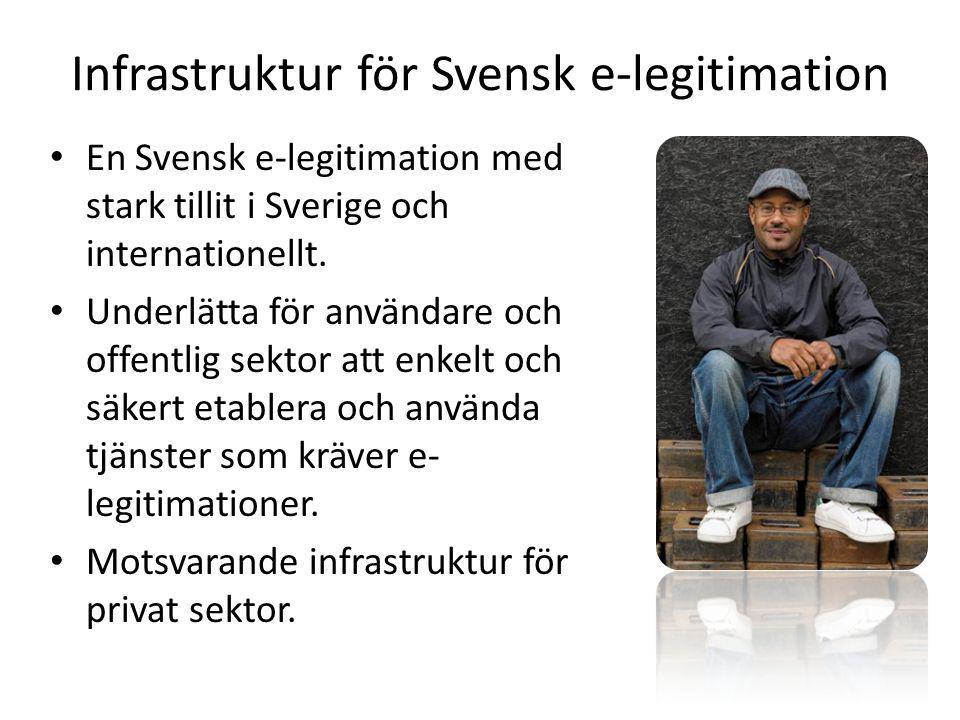 Infrastruktur för Svensk e-legitimation En Svensk e-legitimation med stark tillit i Sverige och internationellt.