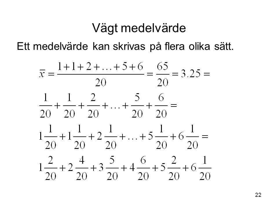 22 Vägt medelvärde Ett medelvärde kan skrivas på flera olika sätt.