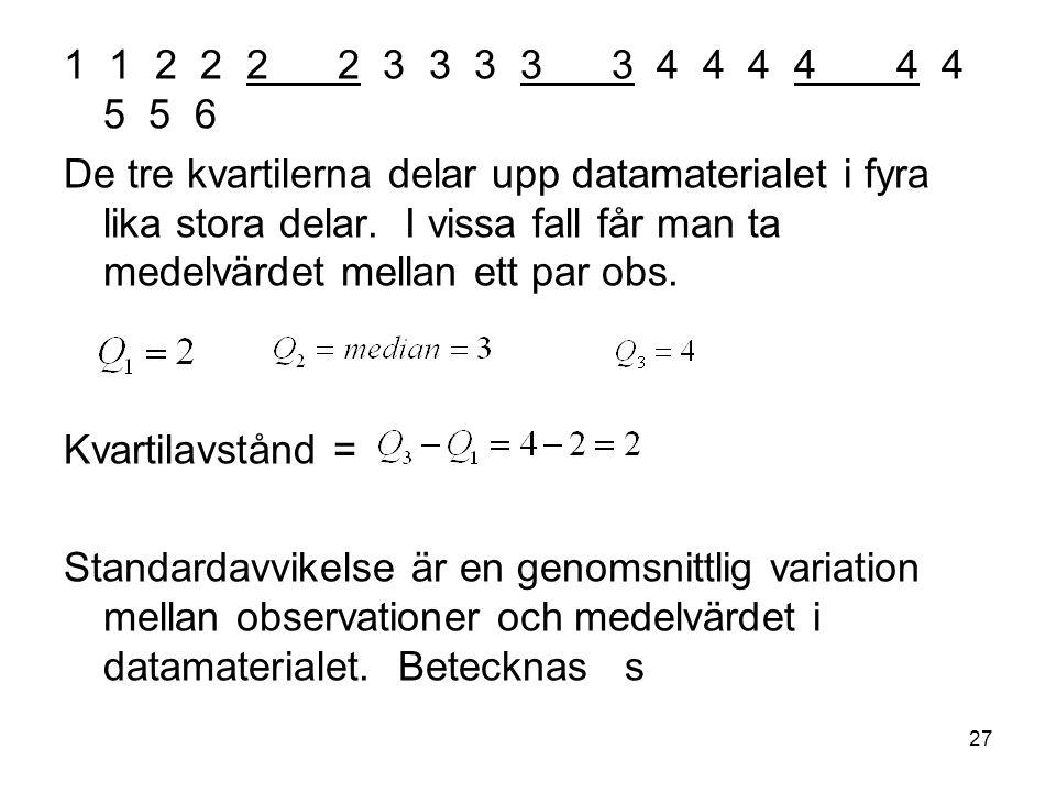 27 1 1 2 2 2 2 3 3 3 3 3 4 4 4 4 4 4 5 5 6 De tre kvartilerna delar upp datamaterialet i fyra lika stora delar.