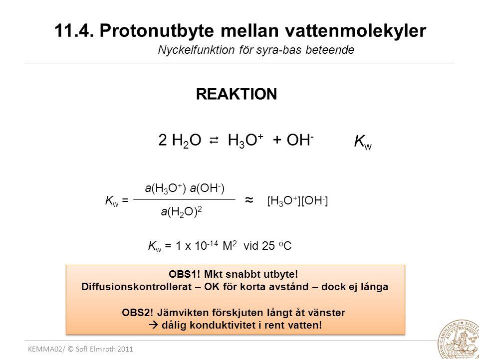 KEMMA02/ © Sofi Elmroth 2011 11.4. Protonutbyte mellan vattenmolekyler REAKTION 2 H 2 O H 3 O + + OH -   OBS1! Mkt snabbt utbyte! Diffusionskontroll