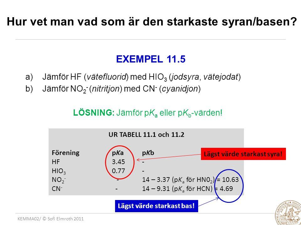 KEMMA02/ © Sofi Elmroth 2011 EXEMPEL 11.5 a)Jämför HF (vätefluorid) med HIO 3 (jodsyra, vätejodat) b)Jämför NO 2 - (nitritjon) med CN - (cyanidjon) LÖ
