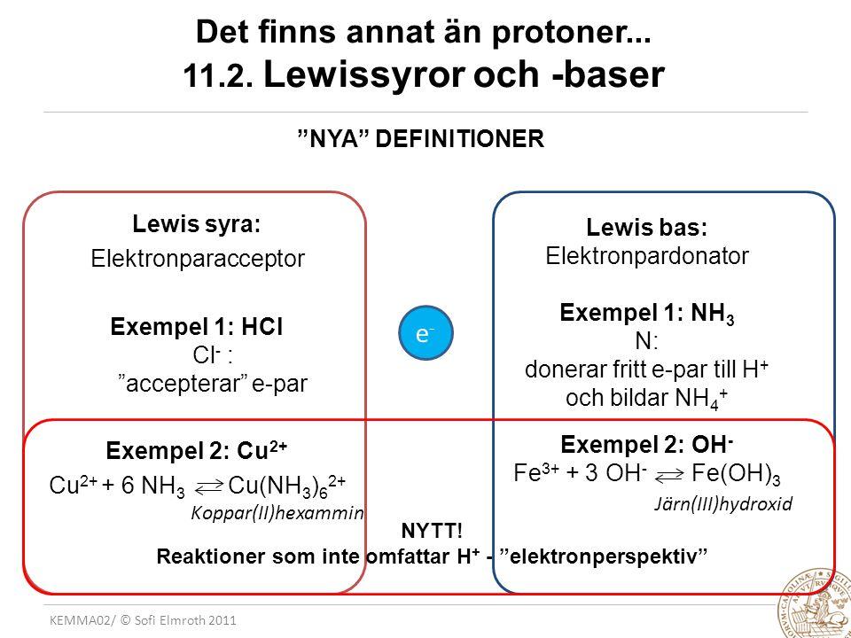 "KEMMA02/ © Sofi Elmroth 2011 Det finns annat än protoner... 11.2. Lewissyror och -baser Lewis syra: Elektronparacceptor Exempel 1: HCl Cl - : ""accepte"