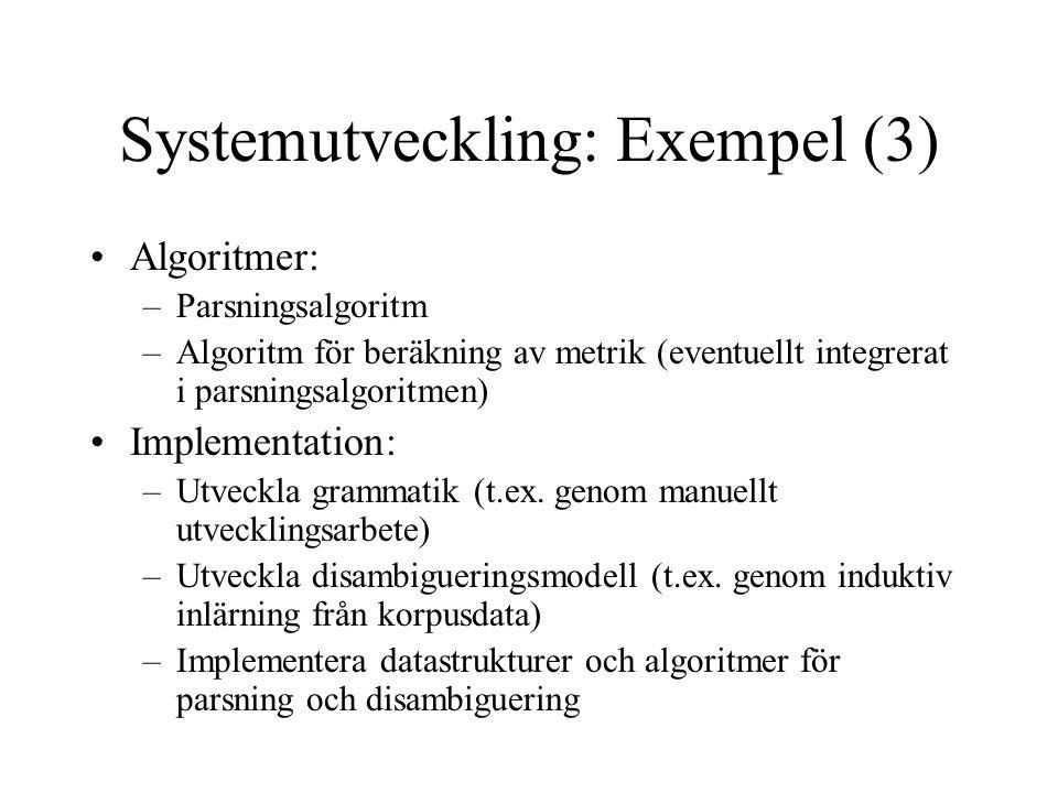 Systemutveckling: Exempel (3) Algoritmer: –Parsningsalgoritm –Algoritm för beräkning av metrik (eventuellt integrerat i parsningsalgoritmen) Implementation: –Utveckla grammatik (t.ex.