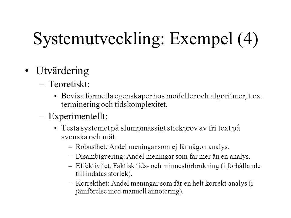 Systemutveckling: Exempel (4) Utvärdering –Teoretiskt: Bevisa formella egenskaper hos modeller och algoritmer, t.ex. terminering och tidskomplexitet.
