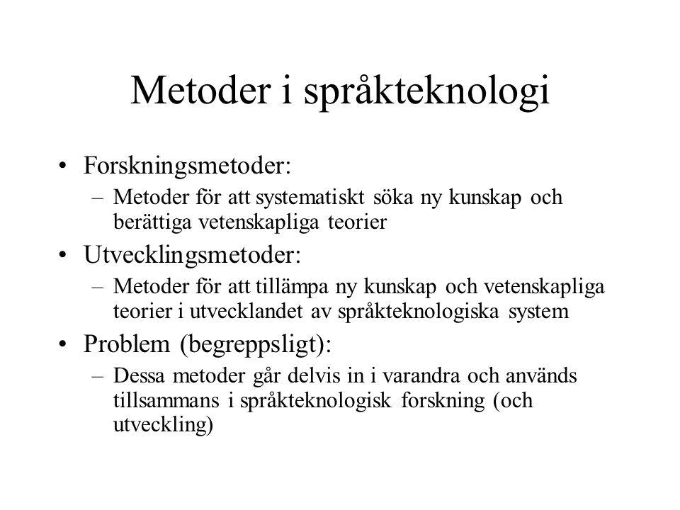 Metoder i språkteknologi Forskningsmetoder: –Metoder för att systematiskt söka ny kunskap och berättiga vetenskapliga teorier Utvecklingsmetoder: –Met