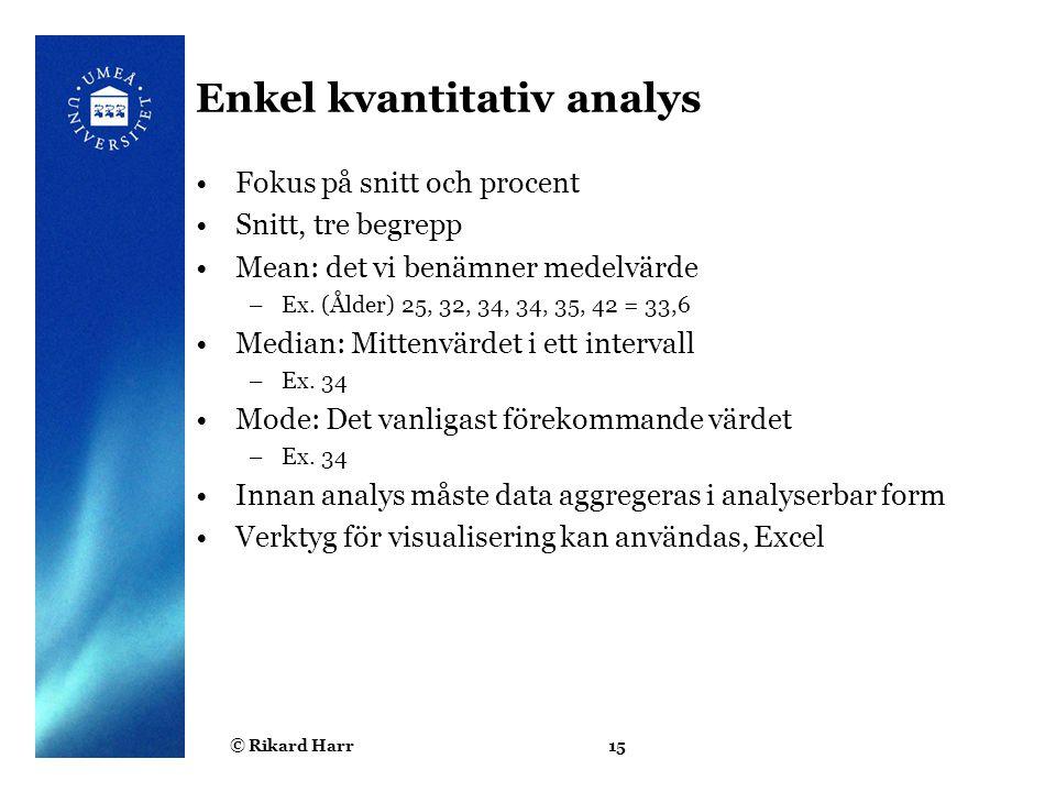 © Rikard Harr15 Enkel kvantitativ analys Fokus på snitt och procent Snitt, tre begrepp Mean: det vi benämner medelvärde –Ex. (Ålder) 25, 32, 34, 34, 3