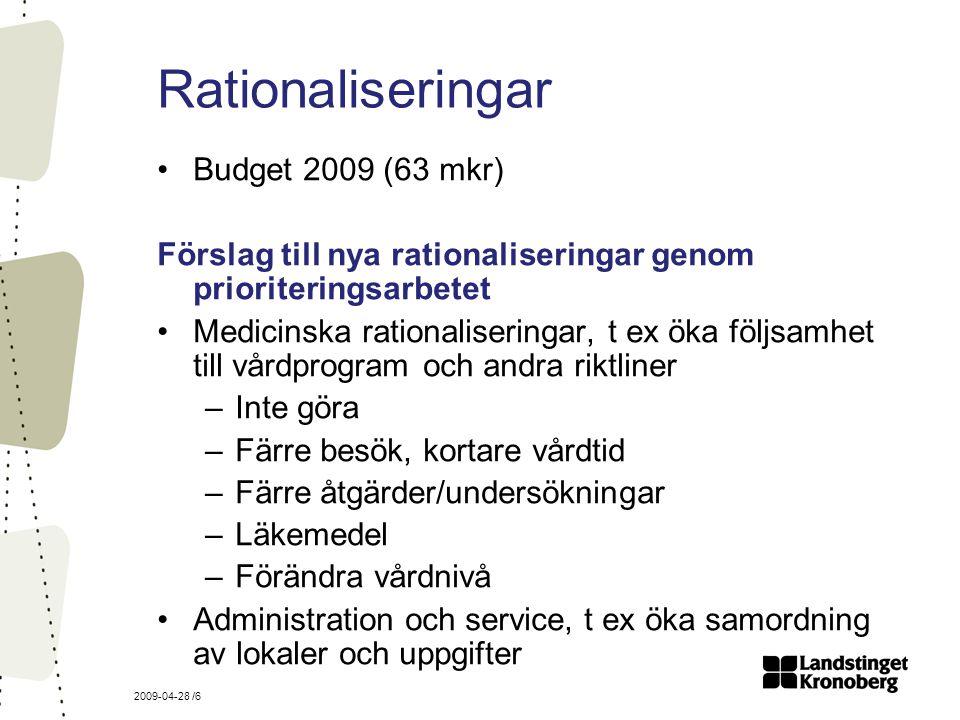 2009-04-28 /6 Rationaliseringar Budget 2009 (63 mkr) Förslag till nya rationaliseringar genom prioriteringsarbetet Medicinska rationaliseringar, t ex öka följsamhet till vårdprogram och andra riktliner –Inte göra –Färre besök, kortare vårdtid –Färre åtgärder/undersökningar –Läkemedel –Förändra vårdnivå Administration och service, t ex öka samordning av lokaler och uppgifter