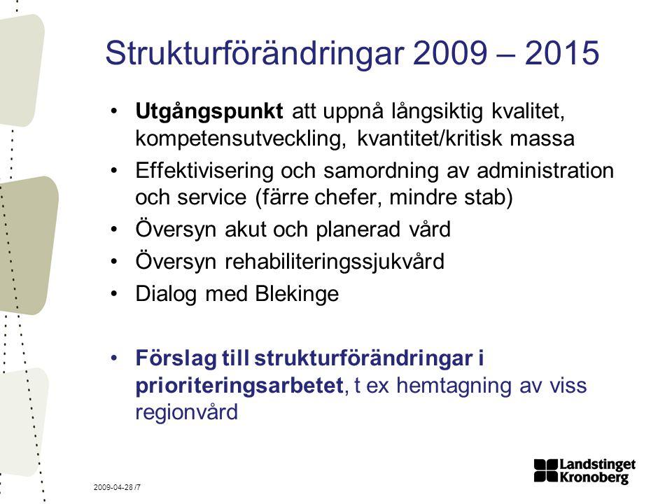 2009-04-28 /7 Strukturförändringar 2009 – 2015 Utgångspunkt att uppnå långsiktig kvalitet, kompetensutveckling, kvantitet/kritisk massa Effektivisering och samordning av administration och service (färre chefer, mindre stab) Översyn akut och planerad vård Översyn rehabiliteringssjukvård Dialog med Blekinge Förslag till strukturförändringar i prioriteringsarbetet, t ex hemtagning av viss regionvård