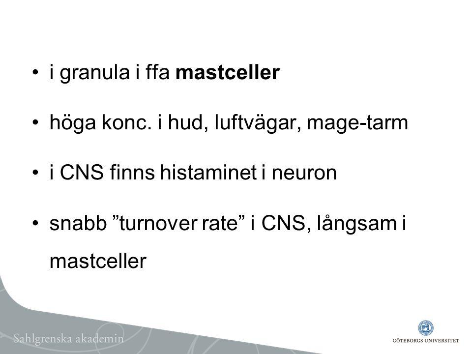 """i granula i ffa mastceller höga konc. i hud, luftvägar, mage-tarm i CNS finns histaminet i neuron snabb """"turnover rate"""" i CNS, långsam i mastceller"""